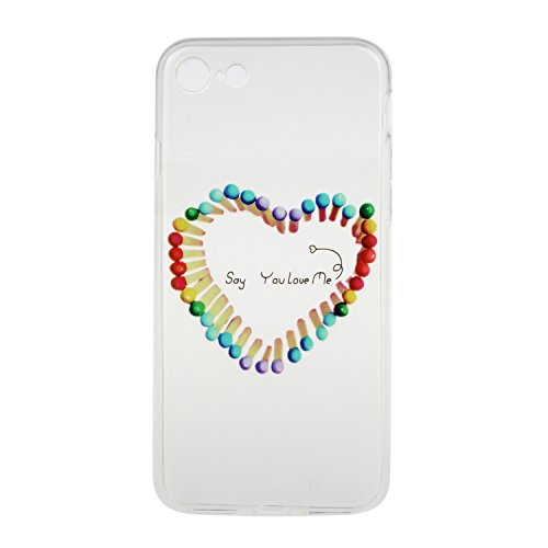 iPhone 7 Hülle,iPhone 7 Silikon Case,iPhone 7 Cover - Felfy Ultra Dünne Weicher Slim Gel Flexible Soft TPU Silikon Hülle Schutzhülle Silikon Hülle Blumen Muster Farbmalerei Beschützer Hülle Handy Durc Streichhölzer