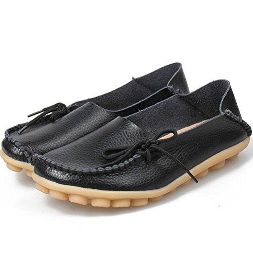 MatchLife Damen Vintage Leder Flach Ballerinas Casual Schuhe Schwarz