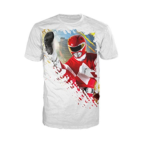 Power Rangers Photo Red Ranger Kick Official Men's T-Shirt (Black) (X-Large) (Red Power Ranger-outfit)