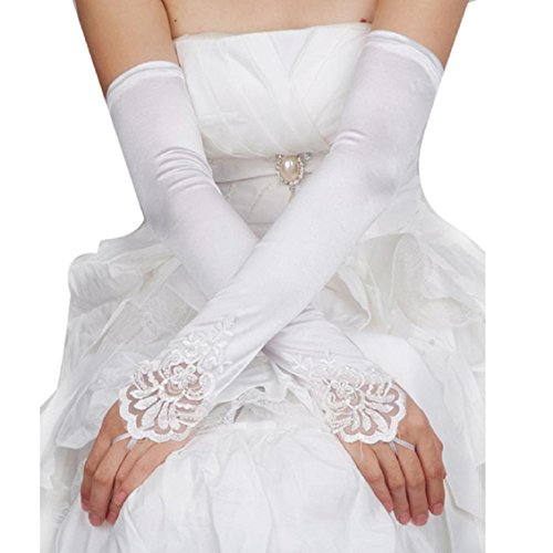 Handschuhe Transer® Mädchen Fashion Spitze Blumen Braut Handschuhe Fingerlose Satin Lace Perle Fäustlinge für Hochzeit Party Ball Handschuhe (Länge Satin-abend-handschuhe Ellenbogen)