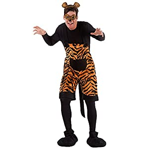 Carnival Toys 80976 - Tigre, Hombres traje con máscara y Haarreif, ML