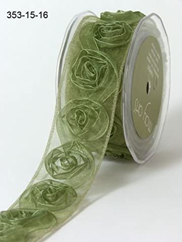 Olive Green Sheer Roses Ribbon 38mm by May Arts per 1m length (N.B. this is a cut from a roll)