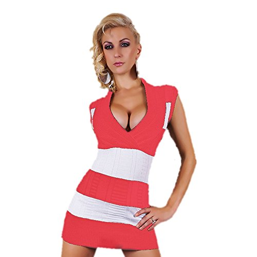 Generic - Pull - Robe pull - Femme Coral / White