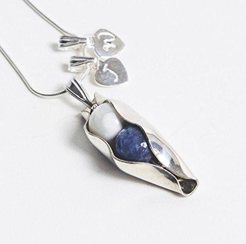 8ème anniversaire de mariage - Deux pois dans un collier - Deux pierres de naissance de votre choix - Cadeau d'anniversaire de mariage pour femme