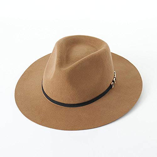 Shining-hat Fedora Trilby-Hüte für Herren Damen Wolle Filzhut Kirche Hut Fedorahüte Wolle Jazz Hut Vintage Brief dekorative Wolle Herbst und Winter Filzhut @ Camel_M (56-58cm)