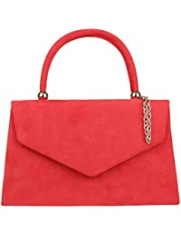 Girly HandBags Top Handle Faux Suede Clutch Bag Grab Holder Womens Handbag