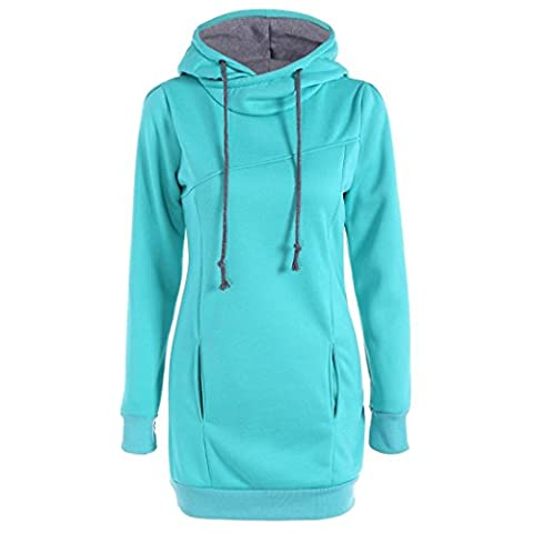 TWIFER Damen Mode lose Pullover T-Shirt Langarm Sweatshirt Übergröße Hoodie (S-4XL) (4XL, Himmelblau)