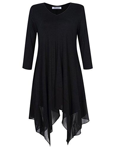 KoJooin Damen Plus Size Asymmetrische Lässige Longshirt Chiffon Bluse Oversize T Shirt Casual Tunika Top Schwarz Langarm 4XL
