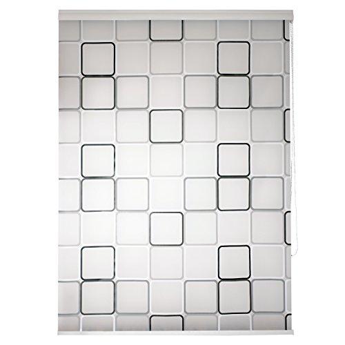 TEXMAXX Duschrollo im Viereck-Retro-Design (DROLLO2), 140 cm breit Halb-Kassetten Duschvorhang mit Seitenzug, mit weißen Leisten - inkl. Zubehör