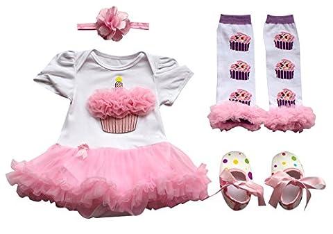 Adorable Fille Bébé Bodys Combinaison Tutu Romper Barboteuse avec Bandeau Jambière Chaussures 0-9 mois (3-6 mois, Rose claire cake)