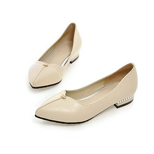 VogueZone009 Femme Tire Pointu à Talon Bas Pu Cuir Mosaïque Chaussures Légeres Beige