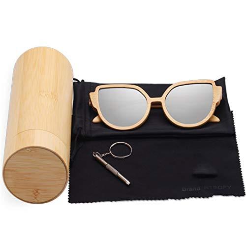 DAIYSNAFDN Holz Sonnenbrille Frauen Bambus Rahmen Brillen Polarisierte Gläser Gläser Mit Holzkiste C2