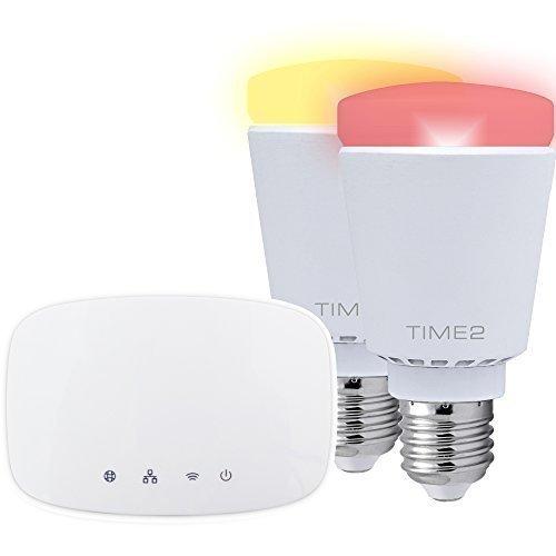 Time2® Kit básico de 2 bombillas - WiFi iluminación Kit – bulbos de Wi-Fi  – Bombillas Wi-Fi - aplicación gratuita 'Kit4home'