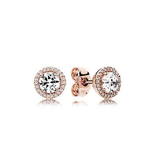 PANDORA 286272CZ Classic Elegance Stud Earrings, PANDORA Rose