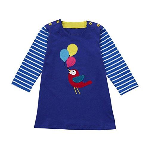 Longra Baby Kinder Mädchen Baumwolle Langarm T-shirt Kleid mit Fuchs Print Stickerei Prinzessin Kleid Karneval Party Kleid (90CM 1Jahre, Blue) (Satin Cap Print)