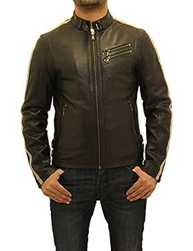 Hombres de cuero elegante negro mandar'n Collar Racing Biker chaqueta con rayas de color rojo crema
