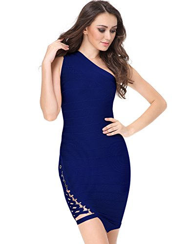 Kurze Probe-pack (Miss Water Damen Kleidung Bandage-Kleid-Blau Hip Pack Tight Kleid-Kurz for Party)