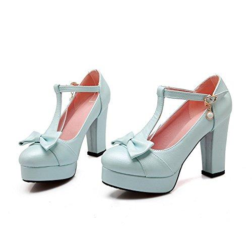 VogueZone009 Damen Schnalle Pu Leder Rund Zehe Hoher Absatz Rein Pumps Schuhe Blau