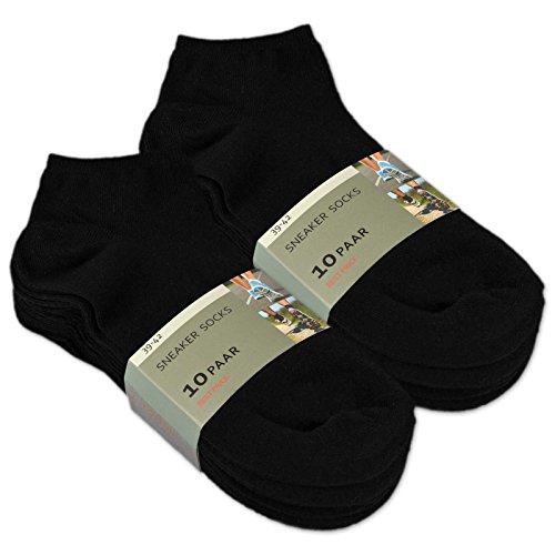 10-bis-100-Paar-Sneaker-Socken-Baumwolle-Damen-Herren-Schwarz-Wei-sockenkauf24