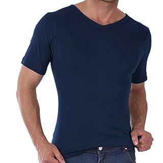 3er Pack Herren V-Neck T-Shirt Feinripp Exclusive Marine - 4/S