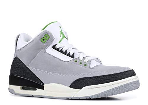 Nike Herren Air Jordan 3 Retro Fitnessschuhe Mehrfarbig (Lt Smoke Grey/Chlorophyll/Black/White 006) 42 EU