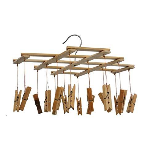 Cdrox Bambú 16 Clip Tendedero Doblar Ropa Pinzas
