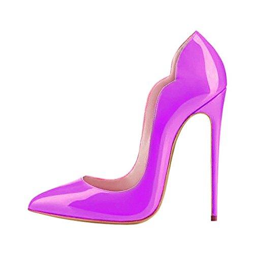 EDEFS Scarpe Col Tacco Donna Classico Ritaglio High Heels Chiuse Davanti Scarpa Purple
