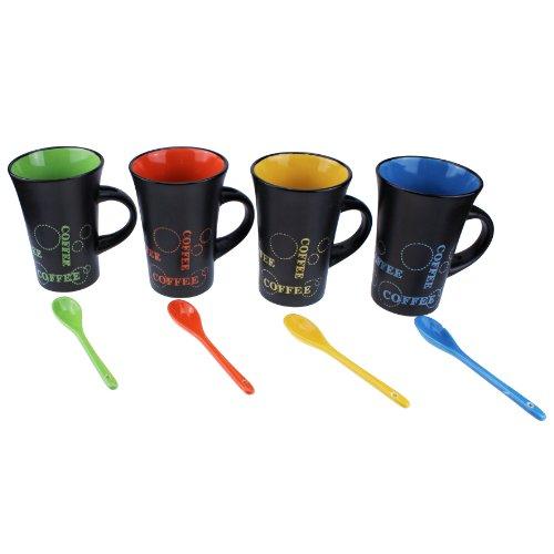 4 Stk. Schwarzer Keramik-Becher Coffee mit Löffel Kaffeetasse Tasse