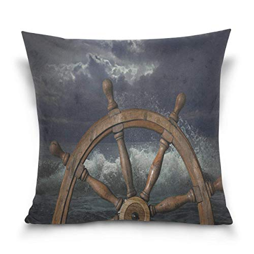 illow Case Decorative Cushion Cover Square Pillowcase, Nautical Ship's Wheel Ocean Wave Artwork Sofa Bed Pillow Case Cover(18x18inch) Twin Sides ()
