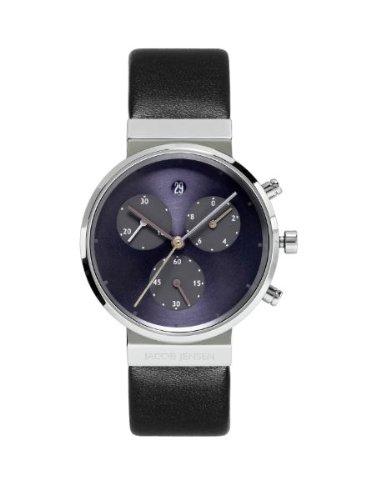 Jacob Jensen - 615 - Montre Femme - Quartz - Chronographe - Chronomètre/Chronomètre - Bracelet Cuir Noir