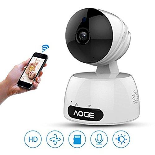 Cámara IP WiFi, AOGE 720p HD seguridad interior para el hogar sistema de cámaras Video Survillance, Smart Baby Monitor con P2P, visión nocturna, Pan/Tilt/Zoom, dos vías de Audio, detección de movimiento para el bebé /Elder/ Pet/Nanny Monitor