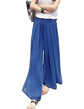 Vdual Mujer Pantalones Flojos Sueltos Pantalón Ancho Culottes Gasa Deportivos Fitness Cintura Elástica