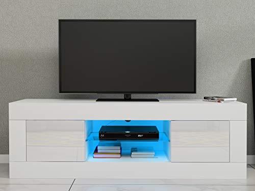 Anaelle Panana LED Meuble TV en Verre avec 2 Portes sur Salle de Séjour, Salon et Chambre à Coucher etc, Taile: 125 x 35 x 40 cm (Blanc)