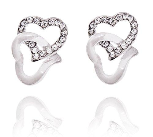 Donna cristallo swarovski elements doppio cuore orecchini oro bianco 18k colore bianco. confezione regalo