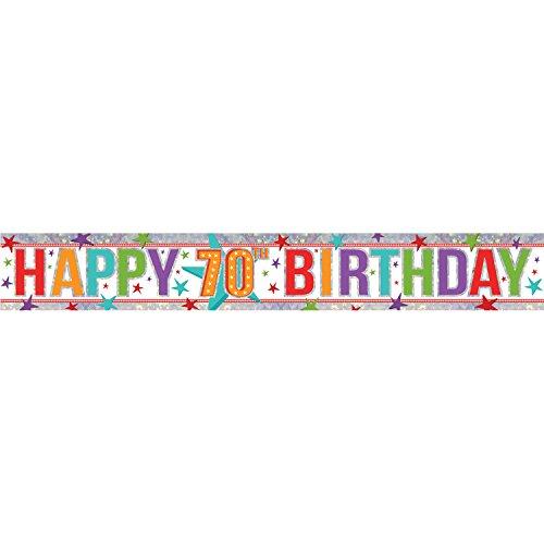 �m Happy 70. Geburtstag Holografische Folie Banner ()