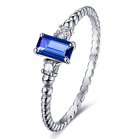 Kardy - 14 Karat (585) Weißgold Brilliant Rund Emerald(3X4mm) blau Saphir Diamant