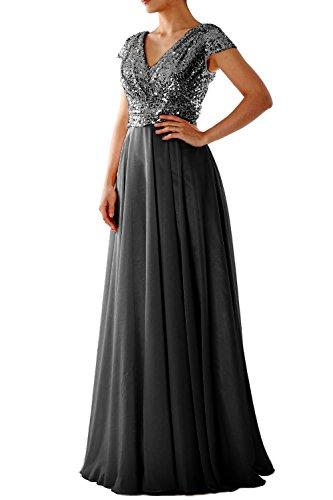 MACloth Cap Sleeve V Neck Sequin Chiffon Bridesmaid Dress Formal Evening Gown Gray Black