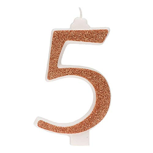 Dekora- Vela de Cumpleaños Numero 5 con Purpurina Dorada (345355)