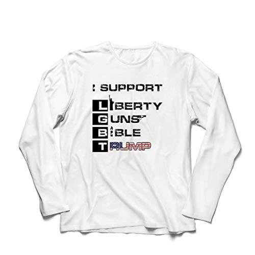 lepni.me Herren T Shirts Liberty Guns Bibel Trump, lustig, ich unterstütze LGBT, Parodie US-Wahlen (Small Weiß Mehrfarben)