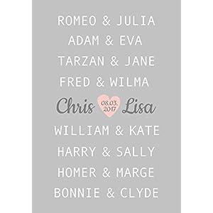 Hochzeitsgeschenk für Brautpaar, Kunstdruck A4 ungerahmt, berühmte Paare, Geschenkidee personalisiert, Jahrestag, Hochzeit, Valentinstag, Traumpaar Liebe
