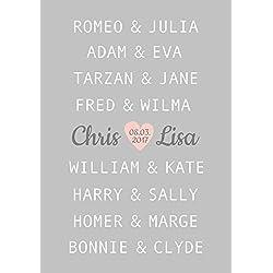 Kunstdruck ungerahmt A4, Traumpaar Liebe, Hochzeitsgeschenk, berühmte Paare, Geschenkidee personalisiert, Jahrestag, Gastgeschenk