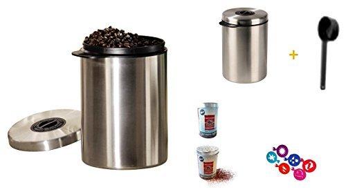 Edelstahldose für 1 kg Kaffeebohnen mit Löffel und James Premium® + + 4 Gläser + Schokostruer + Schablonen
