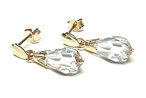 9ct Gold Swarovski Briolette Drop Earrings