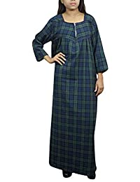 37ac4d7a99 Indiatrendzs Women Woolen Maxi Nighty Check Print Blue Green Nighty XXL