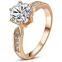 Yoursfs - Straordinaria idea regalo, anello-imitazione di anello da fidanzamento, placcato in oro rosa 18k, montatura a sei