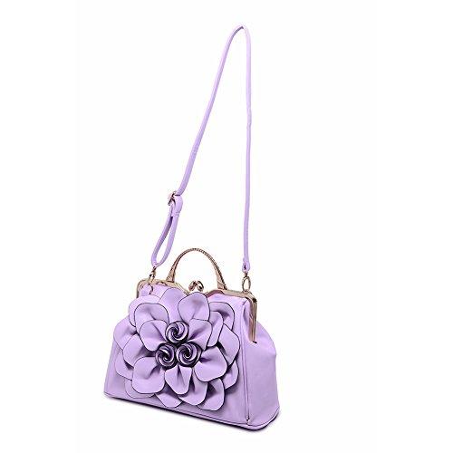 Realer Designer Ledertragetaschen Geldbörsen und Handtaschen Blumen für Frauen Umhängetasche Hobo Bag Floral Lila violett