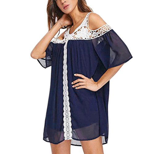 Jaminy Damen Sommer Oberteil Lose Langarmshirt Vintage Tunika Hemd T-Shirt Bluse Elegante Frauen Tunika Oberteile Loose Sommer Blusen Shirt XL-5XL (XL, Marine)