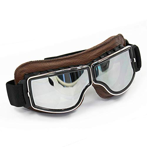 QZY Helm Briggles Harley Style, Rechteck Silber Objektiv Nebelfeste Anti-UV-Sonnenbrille Für Motorrad-Cross-Country-Radfahren,Brown