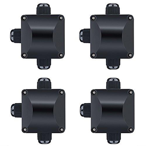 ZWOOS 4 x Boîte de Dérivation Câble IP66 Boîtier de Raccordement 3 Câbles Extérieurs (Noir)