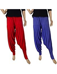 FABRICS CLOUD Women's Viscose Spandex Premium Patiala Salwar Pant Combo Pack Of 2